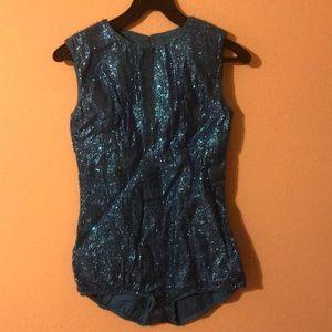 Vintage 1950's sparkle bodysuit bright blue size S